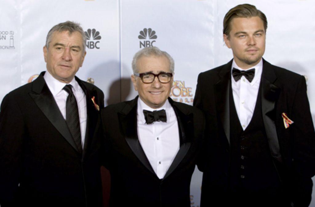 Robert de Niro, Martin Scorsese, Leonardo DiCaprio (von links). Foto: dpa