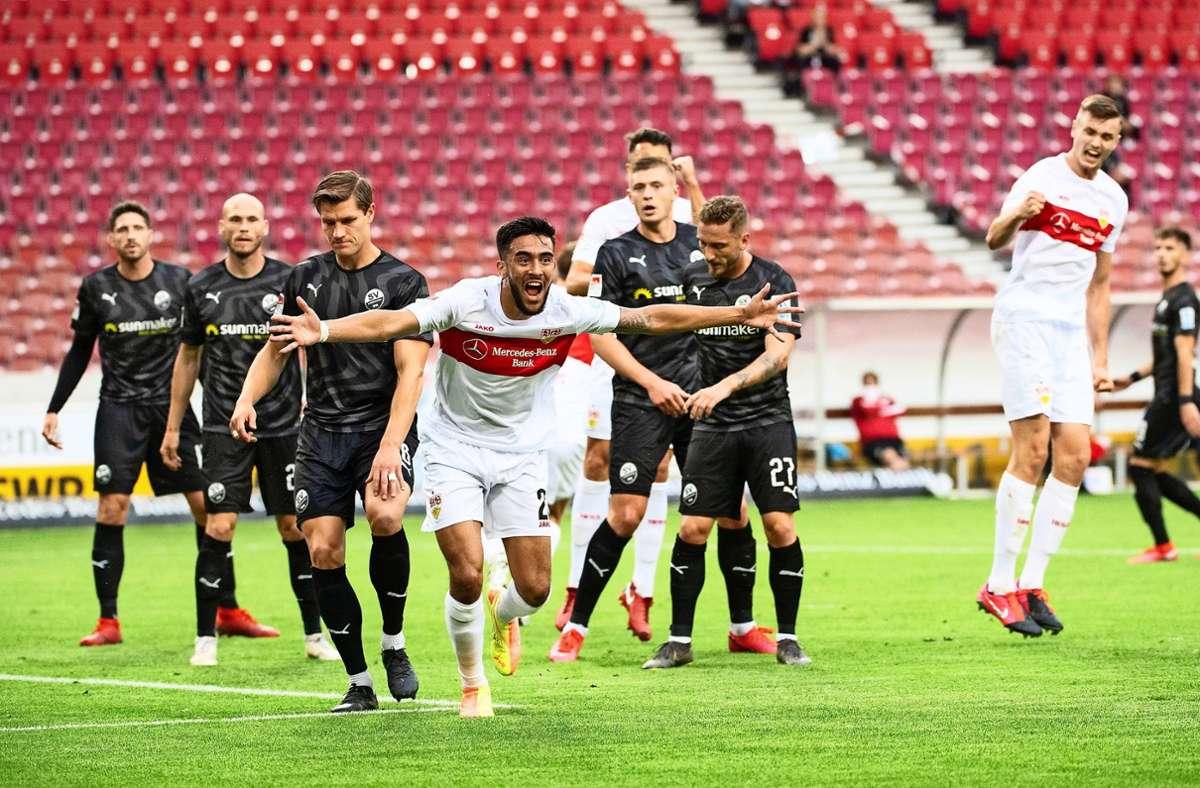 Gegen VfB-Stürmer Nicolas Gonzalez (Mitte) findet der SV Sandhausen kein Mittel. Foto: dpa/Marijan Murat