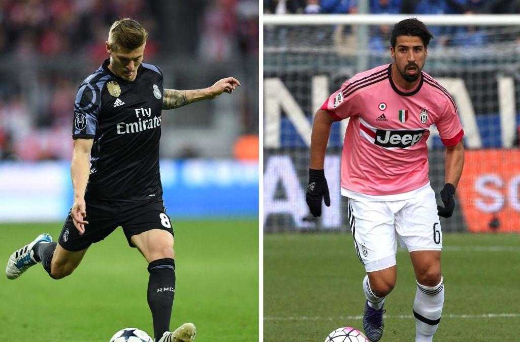 Duell der deutschen Nationalspieler im Finale der Champions League: Toni Kroos und Sami Khedira (re.). Foto: dpa