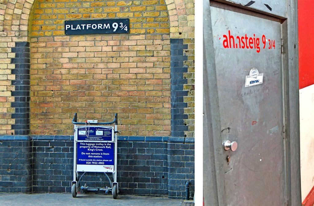 Am Londoner Bahnhof Kings Cross erinnert eine Installation (links) an Gleis 9 ¾ aus den Harry-Potter-Geschichten. Die Stuttgarter Variante kommt da schon deutlich schlichter daher. Foto: Wikipedia, StZ