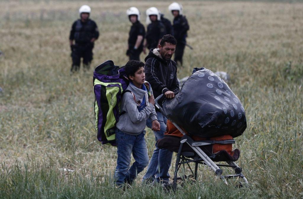 Das Flüchtlingslager in der Nähe des Dorfes Idomeni in Griechenland wird geräumt. Foto: AFP