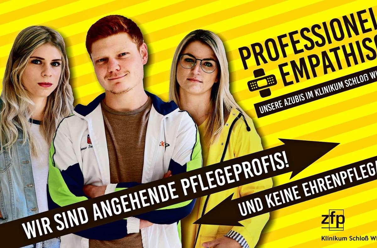 So nicht: Sofie Kohly, Robin Lohmann und Jasmin Rinnebach (von links), die Jugend- und Ausbildungsvertretenden des Klinikums Schloss Winnenden, haben eine  klare Haltung zur Kampagne des Familienministeriums. Foto: ZfP
