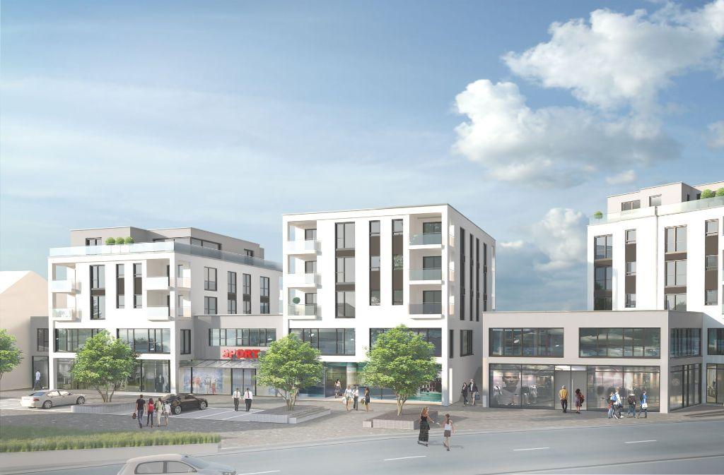 Der Gebäudekomplex auf dem Holzmarkt in Winnenden soll im Jahr 2020 fertig sein. Foto: Class Hausbau