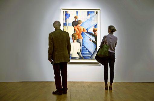 """Nur solche Stufen schließen keine Besucher aus: Oskar Schlemmers """"Bauhaustreppe"""" in der Stuttgarter Staatsgalerie. Foto: dpa"""