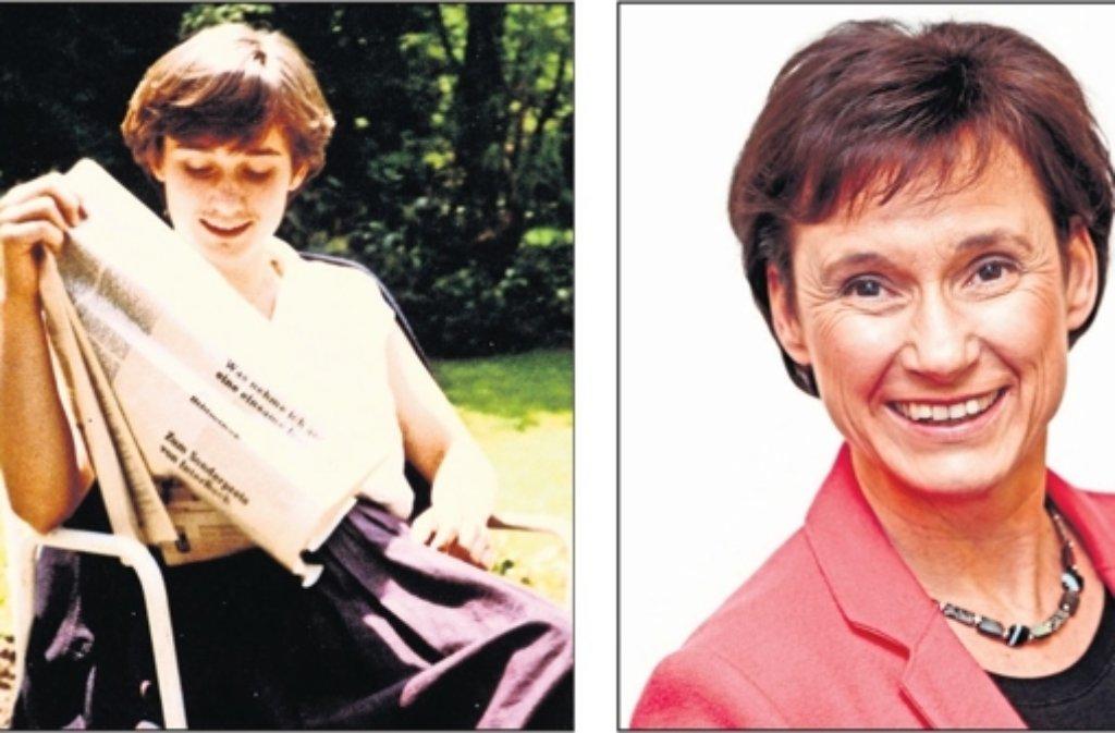 Schon immer am aktuellen Geschehen interessiert: Sabine Kurtz als junge Studentin im elterlichen Garten und heute im Wahlkampf. Foto: privat, factum/Granville