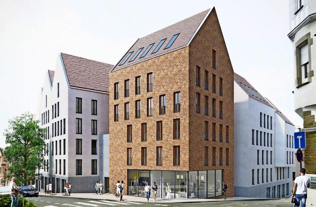 Anfang 2020 sollen die Kronenhöfe stehen  – hier der künftige Blick vom Schillerplatz auf die geplanten Gebäude. Foto: Baurmann und Dürr