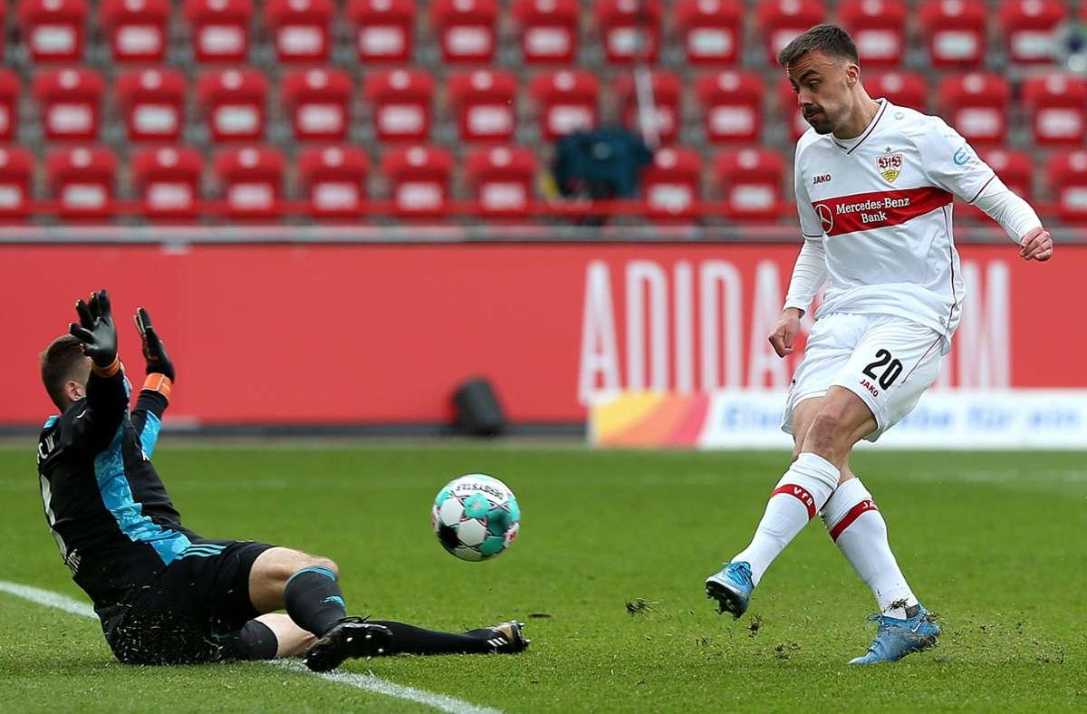 Philipp Förster traf zum Anschluss für den VfB. Foto: Pressefoto Baumann/Cathrin Müller