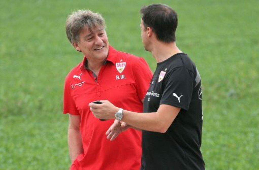 VfB-Präsident Bernd Wahler (links) mit Sportvorstand Fredi Bobic. Foto: Pressefoto Baumann
