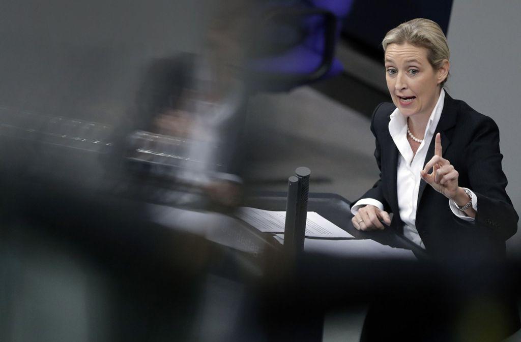 Gegen die Fraktionschefin Alice Weidel laufen in einer Sache strafrechtliche Ermittlungen. Das ist eines der Probleme der AfD. Foto: AP