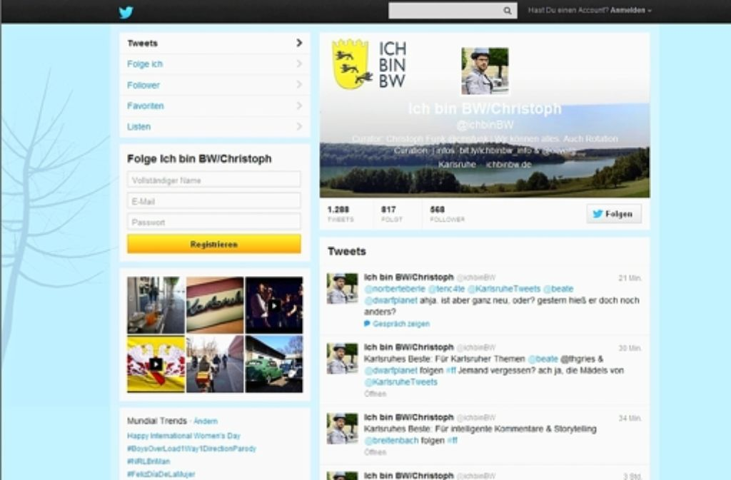 """Das verwirrt die Nutzer noch: Auf dem neuen Twitterkanal """"ichbinbw"""" berichten wöchentlich wechsenlde Mitglieder. Sie werfen einen vielschichtigen Blick auf Baden-Württemberg. Foto: Screenshot StZ"""