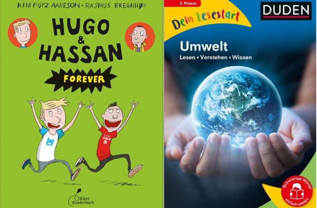 """Diese Bücher können zum Lesen verführen: die Serie mit den coolen Comic-Chaoten """"Hugo & Hassan"""" und die Lesestart-Reihe des Duden-Verlags mit Wissensthemen. Foto: Klett-Kinderbuch/Duden-Verlag"""
