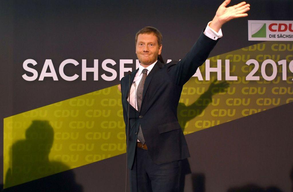 Dass die CDU in Sachsen doch mit rund fünf Prozentpunkten Abstand vor der AfD lag, wird vor allem ihm angerechnet: Ministerpräsident Michael Kretschmer. Foto: dpa