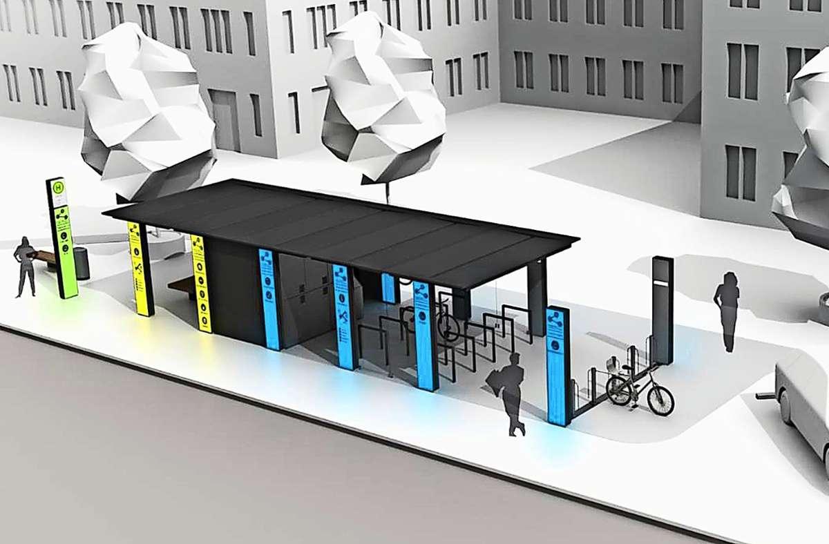 So könnte einer der künftigen Mobilitätspunkte in Leinfelden-Echterdingen aussehen. Foto: fp design