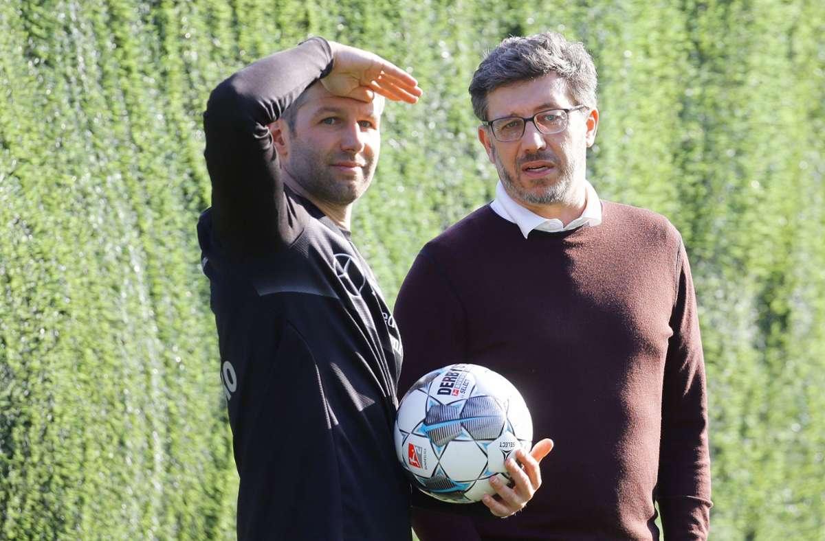 Claus Vogt (rechts) und Thomas Hitzlsperger wollen den VfB Stuttgart in die Zukunft führen. Foto: Pressefoto Baumann/Hansjürgen Britsch