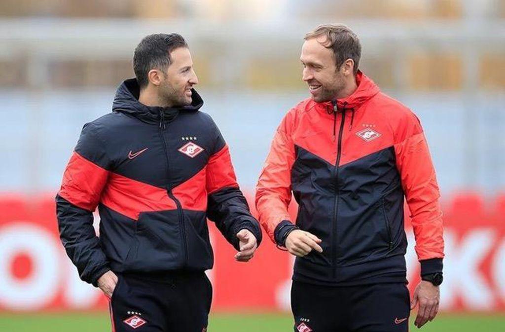 Neues Trainerduo in Russland: Chef Domenico Tedesco (li.) und sein Assistent Andreas Hinkel Foto: Spartak Moskau