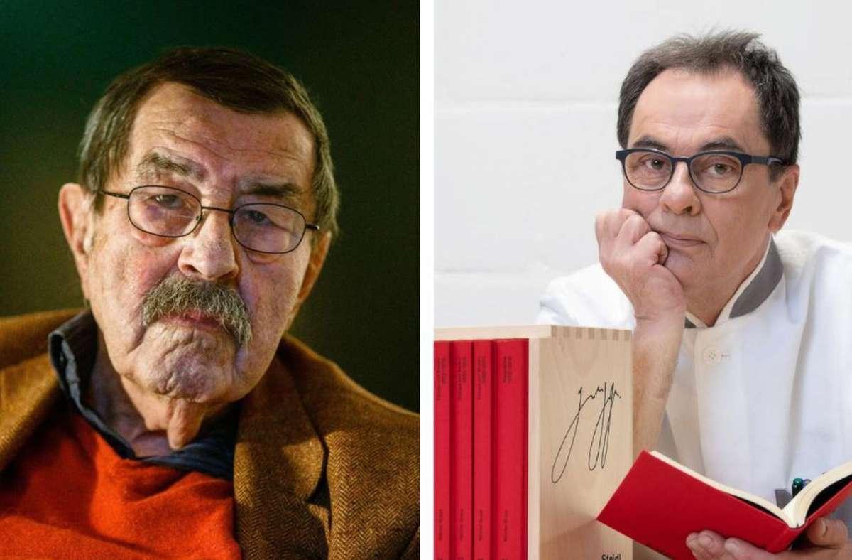 Der Autor Günter Grass (li.) und sein Verleger Gerhard Steidl mit der neuen Werkausgabe. Foto: Swen Pförtner/dpa