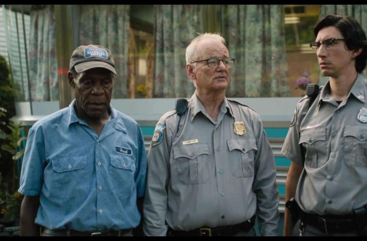 """Bill Murray (Mitte) mit Danny Glover (li.) und Adam Driver in Jim Jarmuschs Film """"The Dead don't die"""" (2019) Foto: Universal"""
