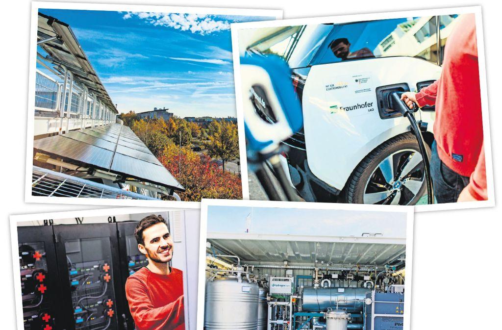 Intelligentes Energie-Puzzle: Damit das lokale Netz funktioniert, müssen alle  Komponenten effizient zusammenarbeiten: Fotovoltaikanlage, Ladestationen für E-Autos, Wasserstoffspeicher und Pufferbatterie (von links oben im  Uhrzeigersinn) Foto: Fraunhofer IAO