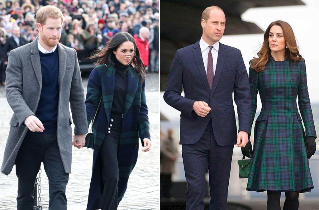 Zwei Besuche in Schottland, ein Tartan-Muster: Herzogin Meghan (links, Anfang 2018) und Herzogin Kate. Foto: dpa/AFP