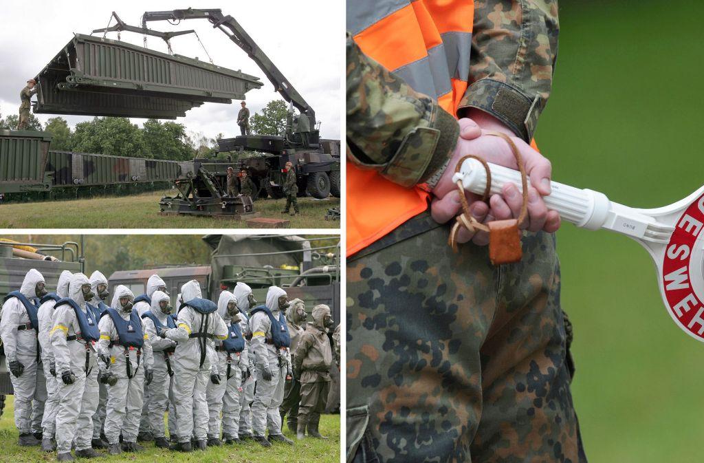 Die Kombo zeigt verschiedene Einsatzmöglichkeiten der Bundeswehr, die auch bei einem Einsatz innerhalb der Bundesrepublik zum Tragen kommen könnten. (Symbolfoto) Foto: dpa