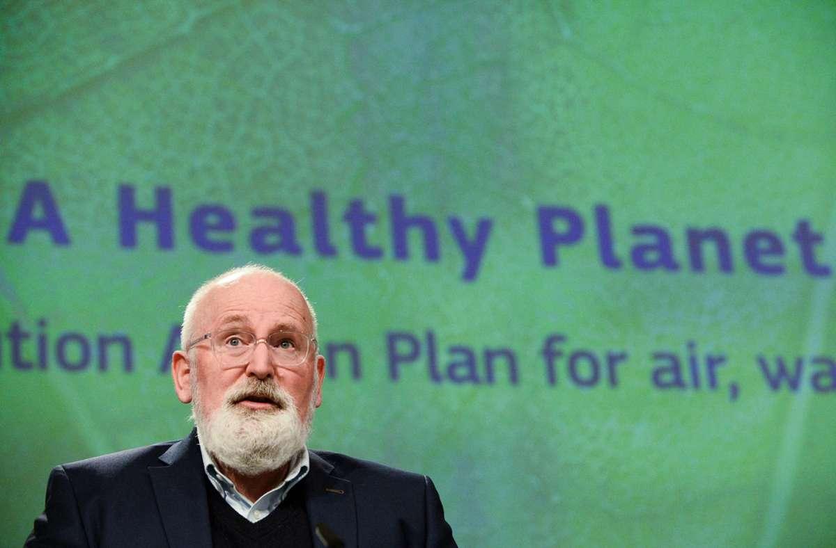 """Die Umwelt soll Pirorität haben: Der für den Green Deal zuständige Vize der Kommission, Frans Timmermans: """"Nichts zu tun würde um ein Vielfaches teurer."""" Foto: AFP/JOHANNA GERON"""