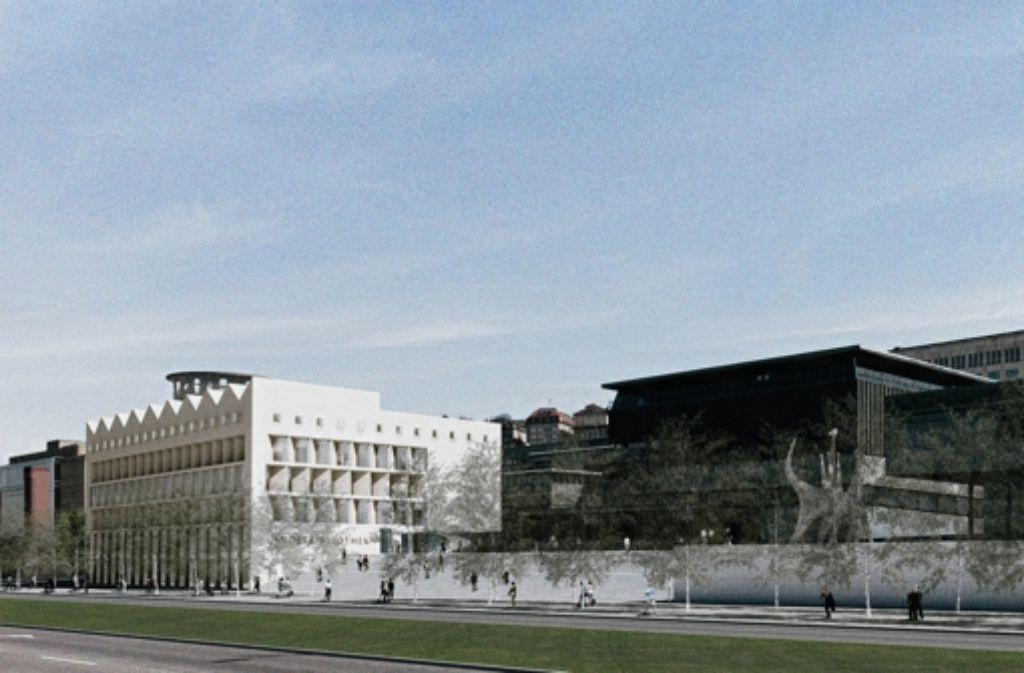 So soll der geplante Anbau aussehen, dahinter ist in der Illustration der Turm der Musikhochschule zu erkennen. Foto: Aldinger und Wolff