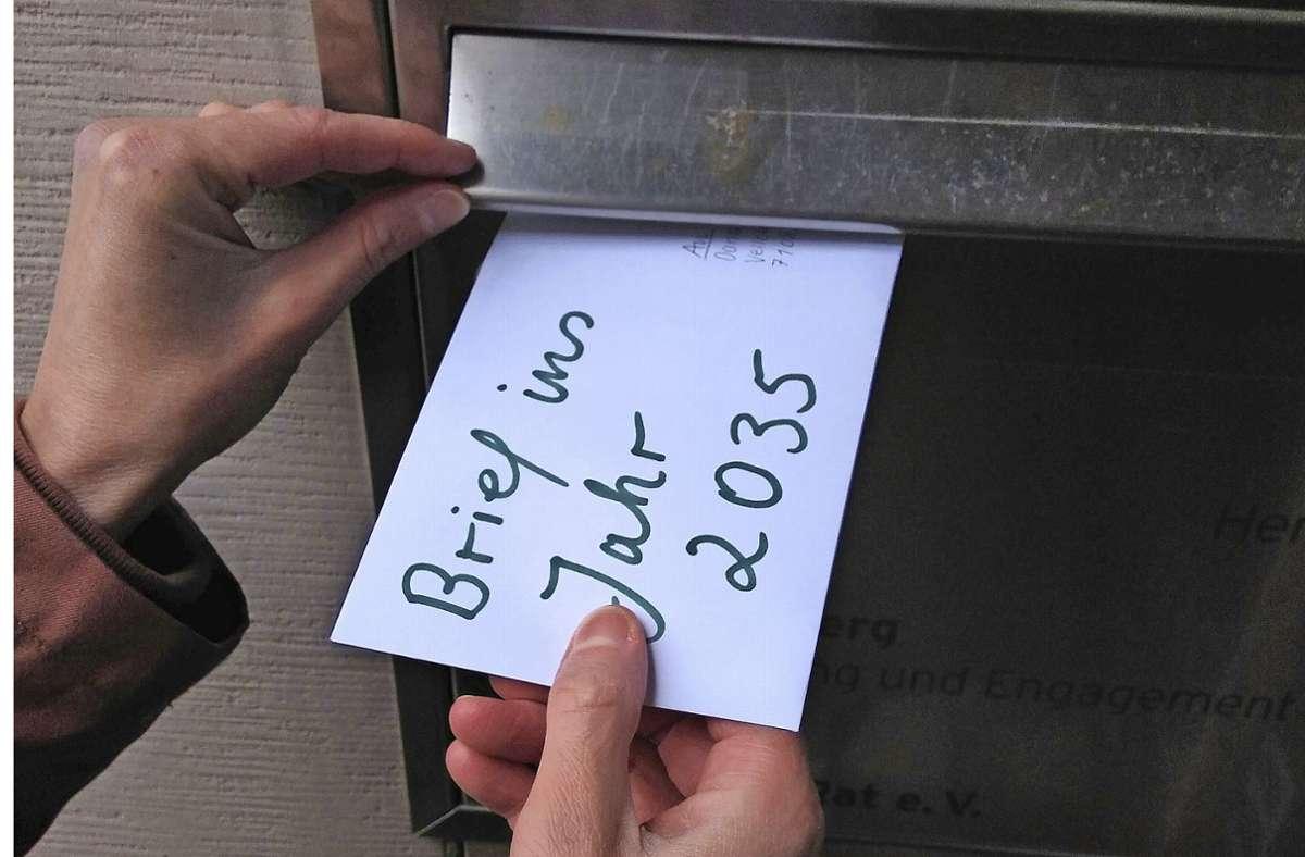 Was steht wohl in diesem Brief an die Zukunft? Foto: Stadt Herrenberg