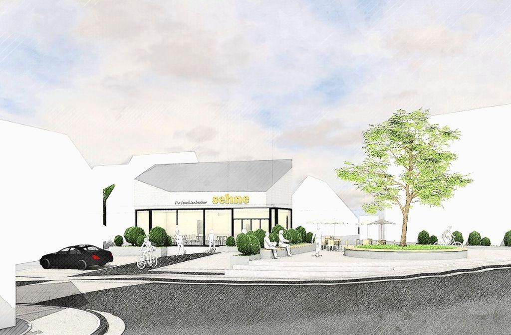 So soll der neue Backshop aussehen. Daneben ist ein Dorfplatz geplant. Foto: Archiplan