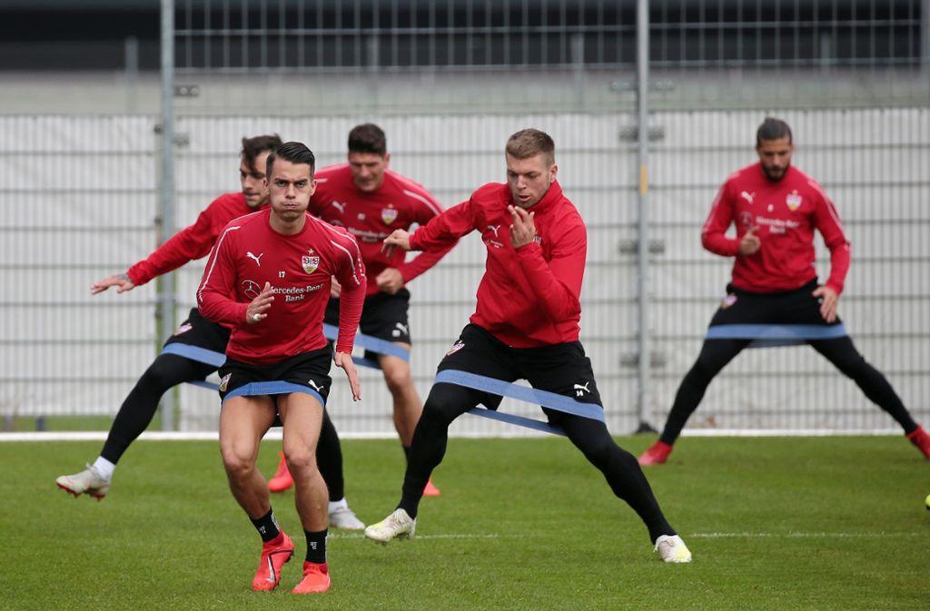 Die Mannschaft des VfB Stuttgart bereitet sich in dieser Woche auf die Partie gegen Bayer Leverkusen vor. Foto: Pressefoto Baumann