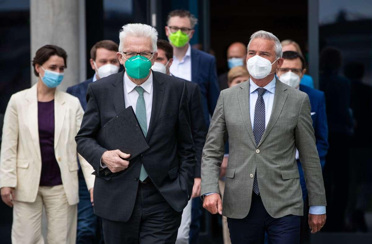 Kretschmann ließ nach dem deutlichen Wahlsieg der Grünen keinen Zweifel daran, wer in dem Bündnis das Sagen hat. Foto: dpa/Christoph Schmidt
