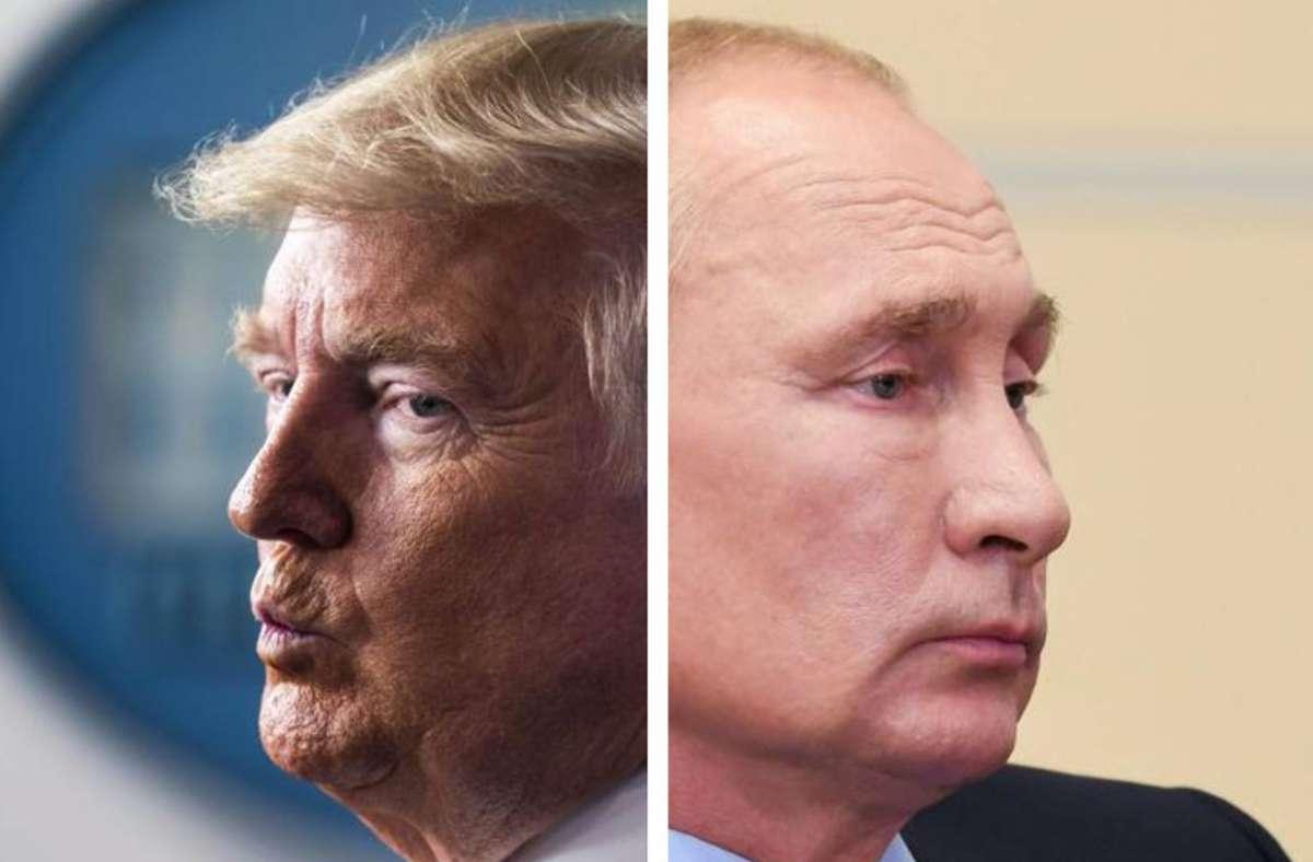 """Der Roman """"Doppelte Spur"""" erzählt zwar eine fiktive Whistleblower-Geschichte, die Spur führt aber trotzdem zu Trump und Putin. Foto: imago/Itar-Tass, Zuma"""