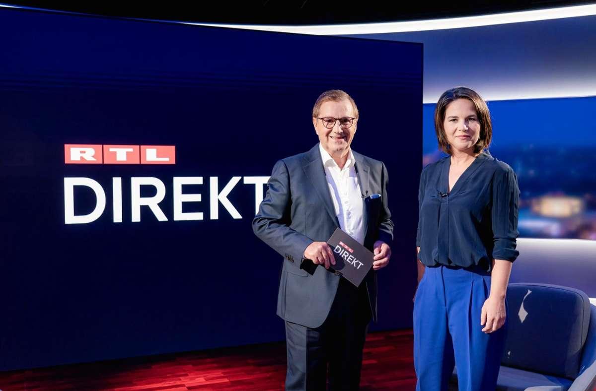 Premiere bei RTL: Moderator Jan Hofer mit der Kanzlerkandidatin der Grünen, Annalena Baerbock Foto: dpa/Markus Nass