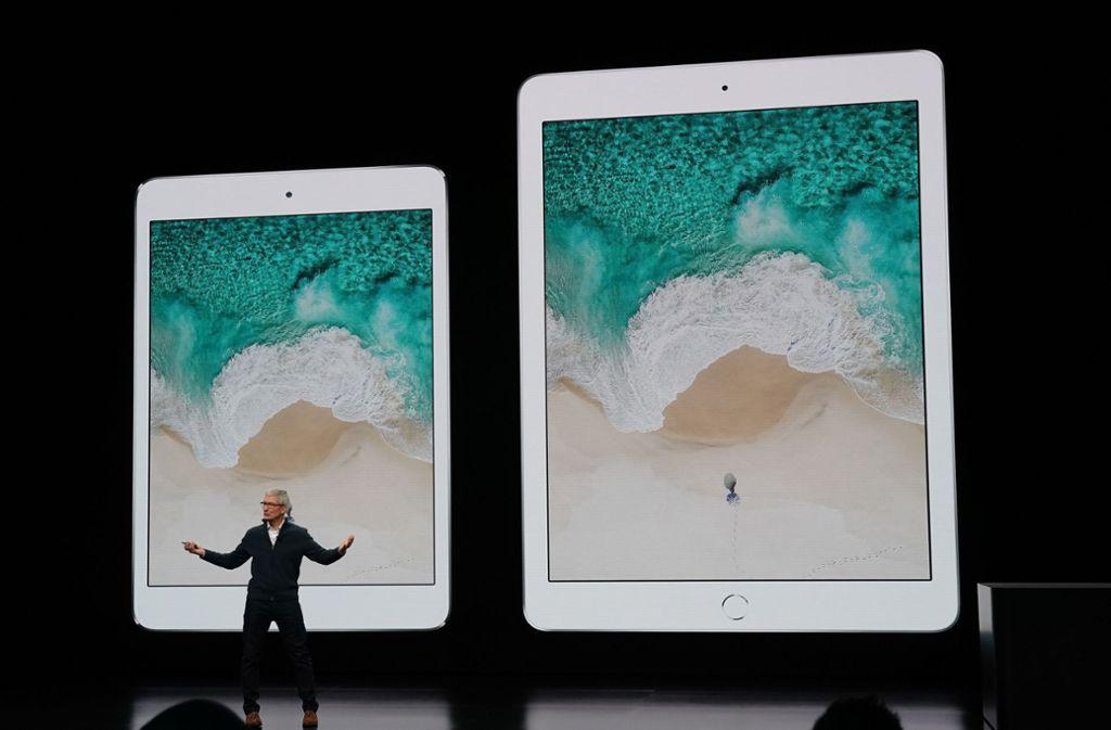 Apple-Chef Tim Cook bei der Präsentation der neuen Produkte Foto: AFP