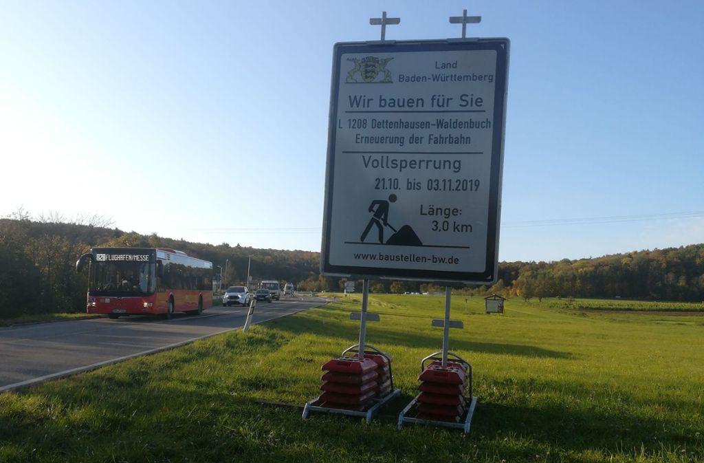 Auf der Straße zwischen Waldenbuch und Dettenhausen geht bald nichts mehr. Foto: Judith A. Sägesser