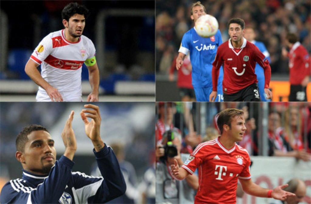 Der VfB Stuttgart lässt Serdar Tasci (links oben) nach Moskau ziehen und füllt die Abwehr-Lücke mit dem Hannoveraner Karim Haggui (rechts oben), Schalke holt mit einem spektakulären Transfercoup Kevin-Prince Boateng (links unten) zurück in die Bundesliga und Bayern schnappt sich Mario Götze (rechts unten) von Borussia Dortmund für schlappe 37 Millionen Euro - hier die Übersicht über die wichtigsten Transfers zur Bundesliga-Saison 2013/14. Klicken Sie sich durch. Foto: dpa (Montage: SIR)