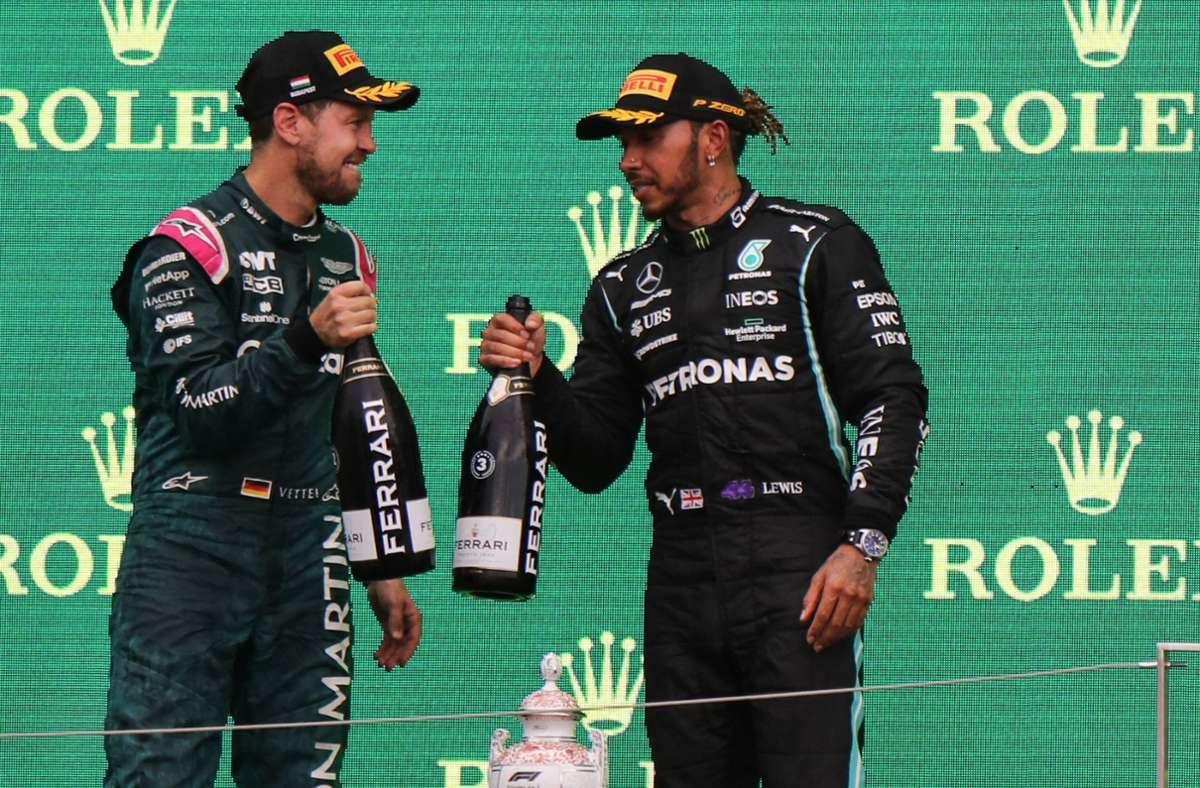 Da weiß Sebastian Vettel noch nichts von seinem Pech – und der Disqualifikation. Foto: AFP/Peter Kohlami