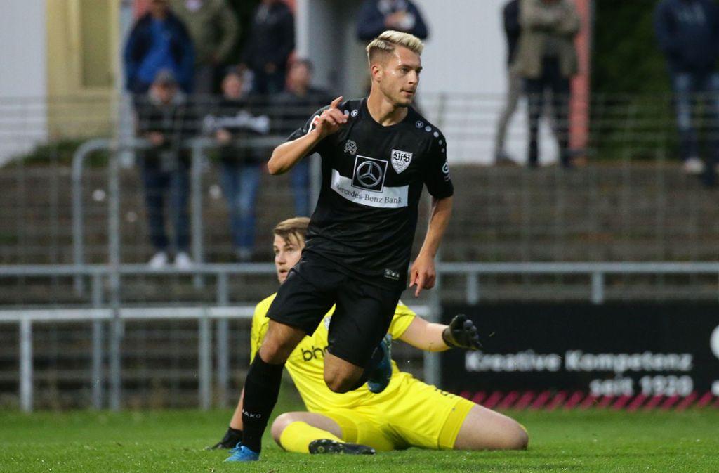 David Tomic: Sein sechstes Saisontor im Spiel beim SSV Reutlingen reicht dem VfB Stuttgart II nicht zum Sieg. Foto: Baumann