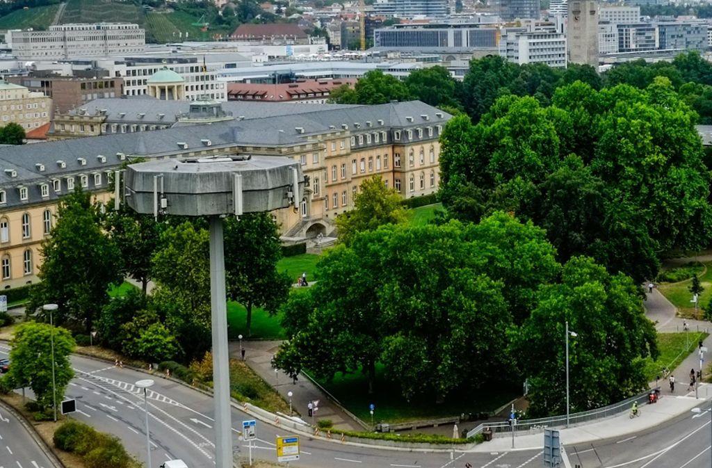 Der Tatort: Akademiegarten zwischen Neuem Schloss und Charlottenplatz (vorne). Foto: Lichtgut/Max Kovalenko