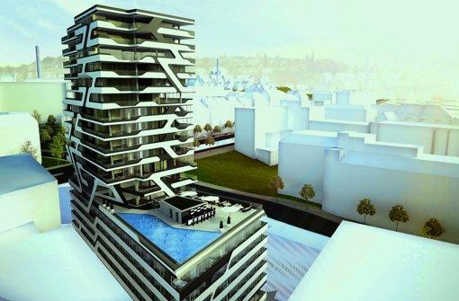 Der geplante Hotel- und Wohnturm an der Ecke Foto: Staud Studios