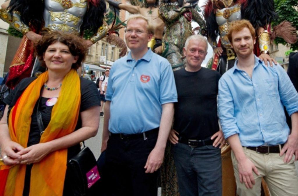 Die bekanntesten Kandidaten der OB-Wahl: Bettina Wilhelm, Sebastian Turner, Fritz Kuhn und Hannes Rockenbauch. Foto: dpa