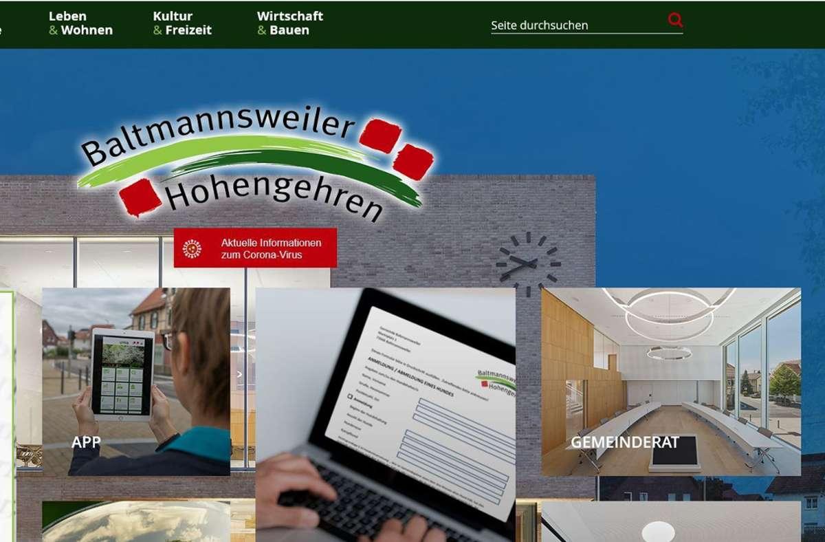 So soll die Homepage ab Montag, 2. November, aussehen. Foto: Gemeinde Baltmannsweiler