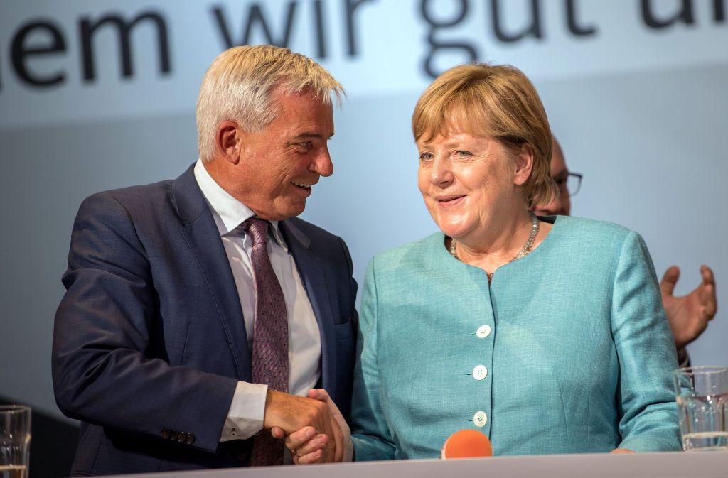 CDU-Landeschef Thomas Strobl zeigt sich gern mit der Kanzlerin – hier in Heilbronn Mitte August Foto: dpa