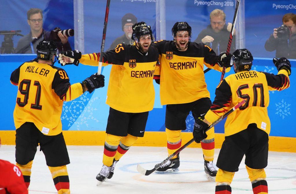 Die deutschen Eishockey-Spieler hatten sogar die Chance auf Gold bei Olympia 2018. Foto: dpa