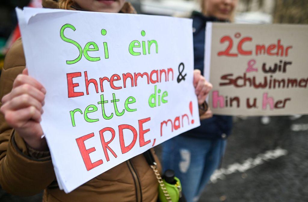 Mit kreativen Plakaten fordern Schüler in ganz Deutschland mehr Klimaschutz. In unserer Fotostrecke zeigen wir die originellsten Protest-Schilder von Schülern aus Stuttgart. Foto: dpa