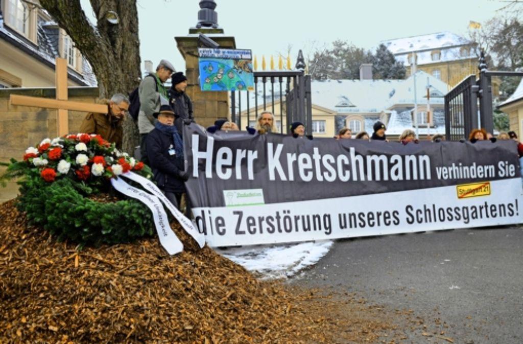Die  S-21-Protestaktion vor dem Staatsministerium im Januar 2012 war Gegenstand eines Verfahrens vor dem Amtsgericht. Foto: dpa