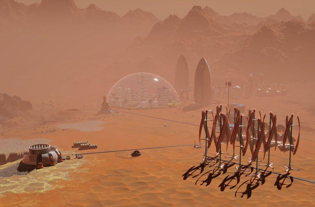 """Sieht so eine Mars-Besiedlung aus? Im Video-Spiel """"Surviving Mars"""" wird der Spieler zum Manager einer Mars-Kolonie und muss mit Rohstoffen und Energie haushalten. Foto: dpa-tmn"""