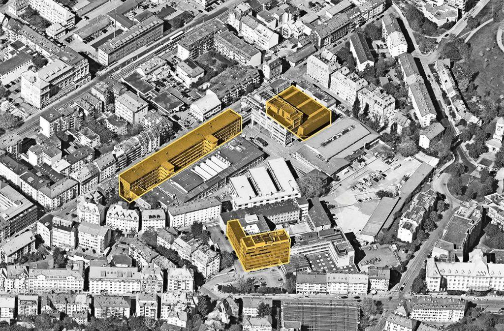 Diese drei Gebäude würde der Verein Adapter gerne nutzen. Foto: Stadtvermessungsamt/Adapter