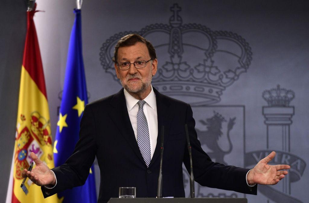 Rajoy nach einem Gespräch mit König Felipe. Foto: AFP
