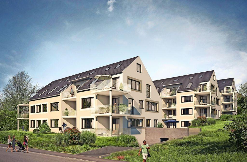 So in etwa sollen die Mehrfamilienhäuser aussehen, aber kleiner. Die Illustration folgt noch der alten Planung. Foto: Mühletal-Liegenschaften