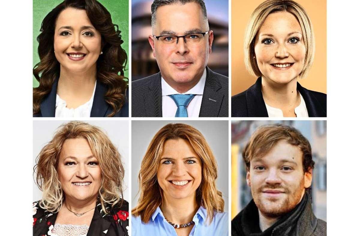 Sie wollen in den  Landtag (oben von links im Uhrzeigersinn): Ayla Cataltepe (Grüne), Hans-Jürgen Goßner (AfD), Sabrina Hartmann (SPD), Joachim Kalitowski (Linke), Sarah Schweizer (CDU), Heidi Nader (FDP). Foto: